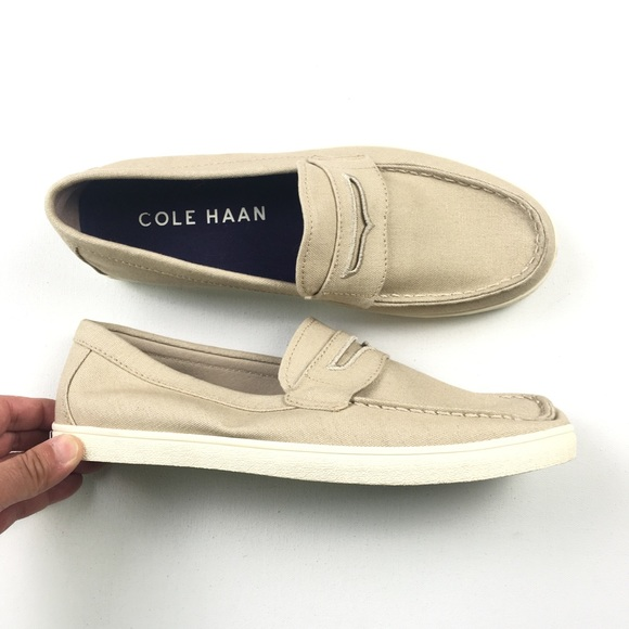 a253608d12db Cole Haan Men's Tan Canvas Boat Shoes 8.5M B23 NWT